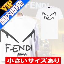FENDI Crew Neck Monogram Unisex Street Style Cotton Short Sleeves