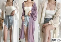 Long Sleeves Plain Long Lace Gowns Elegant Style Cardigans
