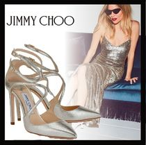 Jimmy Choo Plain Leather Elegant Style High Heel Pumps & Mules