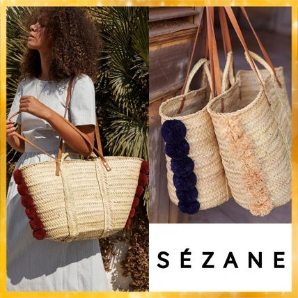 Casual Style Blended Fabrics Plain Totes