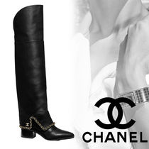 CHANEL Plain Toe Blended Fabrics Chain Plain Leather With Jewels