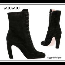 MiuMiu Round Toe Suede Plain Elegant Style Ankle & Booties Boots