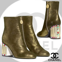 CHANEL Plain Leather Elegant Style Chunky Heels High Heel Boots