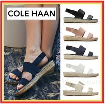 Cole Haan Open Toe Rubber Sole Casual Style Blended Fabrics Plain