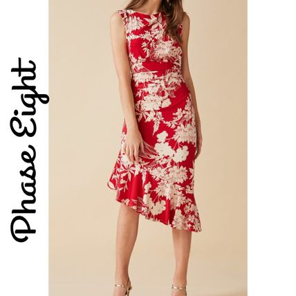 Flower Patterns Tight Sleeveless Medium Party Style Dresses