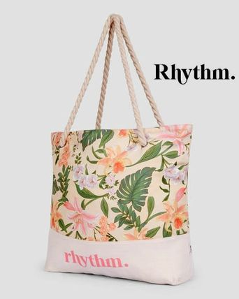 Flower Patterns Casual Style A4 Oversized Logo Totes