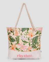 Rhythm Flower Patterns Casual Style A4 Oversized Logo Totes