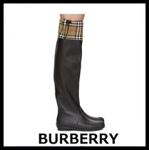 Burberry Other Check Patterns Rubber Sole Plain Rain Boots Boots