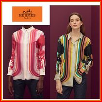 HERMES Silk Long Sleeves Elegant Style Shirts & Blouses