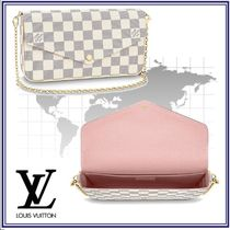 Louis Vuitton DAMIER AZUR Other Check Patterns Blended Fabrics 2WAY Leather