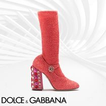 Dolce & Gabbana Round Toe Casual Style Blended Fabrics Plain Block Heels