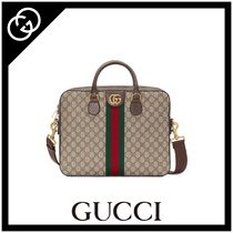 GUCCI Stripes Monogram Canvas 2WAY Business & Briefcases