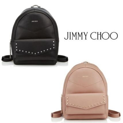 Casual Style Studded Plain Backpacks