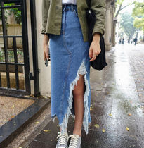Maxi Denim Street Style Tie-dye Plain Long Jeans