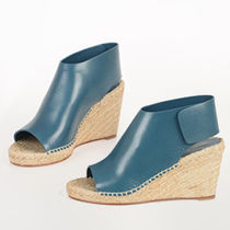 CELINE Open Toe Plain Leather Platform & Wedge Sandals