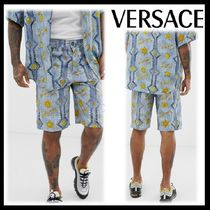 VERSACE Blended Fabrics Street Style Oversized Top-bottom sets