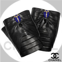 CHANEL Leather With Jewels Leather & Faux Leather Gloves