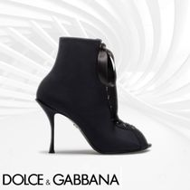 Dolce & Gabbana Open Toe Casual Style Sheepskin Plain Pin Heels