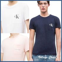 Calvin Klein Crew Neck Street Style Plain Cotton Short Sleeves