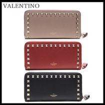 VALENTINO Street Style Leather Long Wallets