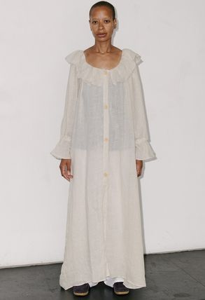 Maxi Linen Street Style Plain Long Party Style Puff Sleeves