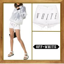 Off-White Short Plain Cotton Denim & Cotton Shorts