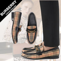 Burberry Gingham Platform Plain Toe Moccasin Chain Leather