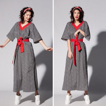 Dots Maxi V-Neck Cropped Cotton Long Party Style Oversized