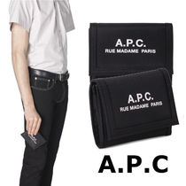 A.P.C. Unisex Nylon Plain Folding Wallets