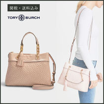 Tory Burch Tory Burch FLEMING Casual Style Calfskin Tassel 2WAY Chain Plain Fringes Totes