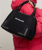 BALENCIAGA CABAS Casual Style Canvas Blended Fabrics Bi-color Plain Totes