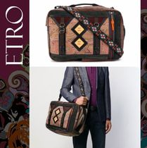 ETRO Flower Patterns Paisley 2WAY Leather Backpacks