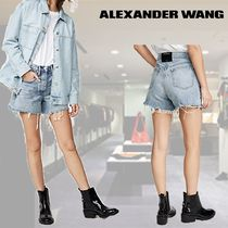 Alexander Wang Short Casual Style Plain Cotton Denim & Cotton Shorts
