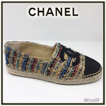 CHANEL Casual Style Tweed Flats