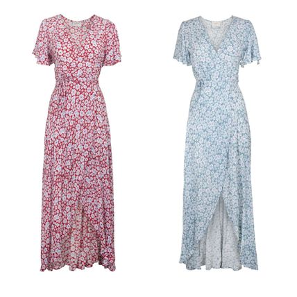 Wrap Dresses Flower Patterns V-Neck Short Sleeves Dresses