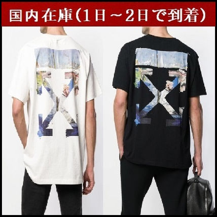 Off-White Crew Neck Crew Neck Stripes Street Style Cotton Short Sleeves