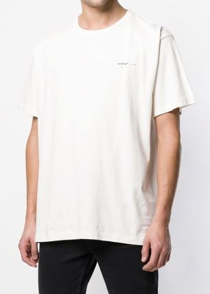 Off-White Crew Neck Crew Neck Stripes Street Style Cotton Short Sleeves 2