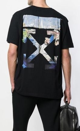 Off-White Crew Neck Crew Neck Stripes Street Style Cotton Short Sleeves 5