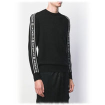 GIVENCHY Crew Neck Pullovers Wool Long Sleeves Plain Knits & Sweaters