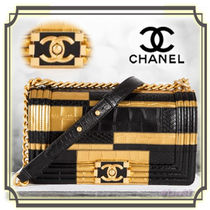 CHANEL BOY CHANEL Calfskin Chain Other Animal Patterns Python Elegant Style