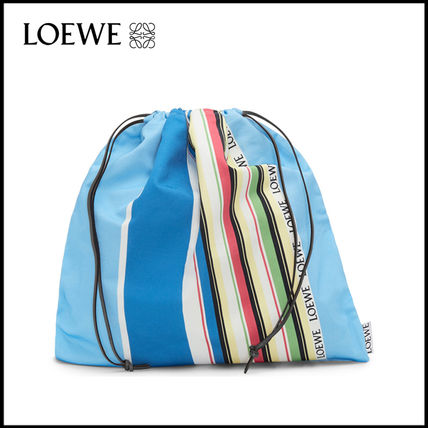LOEWE Canvas Bag in Bag Leather Purses Logo Straw Bags