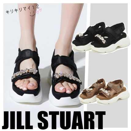 Platform Casual Style Studded With Jewels Shoes
