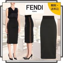 FENDI Pencil Skirts Plain Medium Midi Elegant Style Midi Skirts