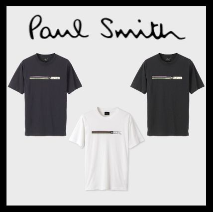 Paul Smith Crew Neck Crew Neck Stripes Plain Cotton Short Sleeves