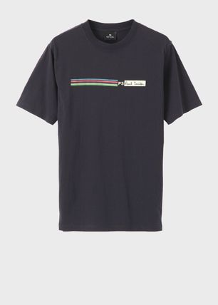 Paul Smith Crew Neck Crew Neck Stripes Plain Cotton Short Sleeves 2