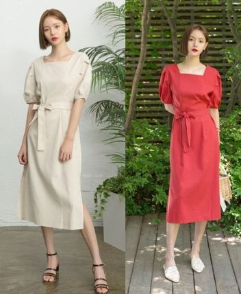 Casual Style Linen Puffed Sleeves Flared Plain Long Dresses