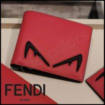 FENDI Calfskin Street Style Bi-color Plain Folding Wallets