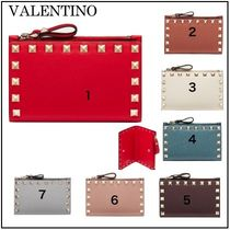 VALENTINO Studded Plain Leather Folding Wallet Card Holders