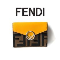 FENDI Monogram Calfskin Plain Folding Wallets