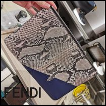 FENDI BAG BUGS Street Style Bag in Bag 2WAY Leather Python Clutches